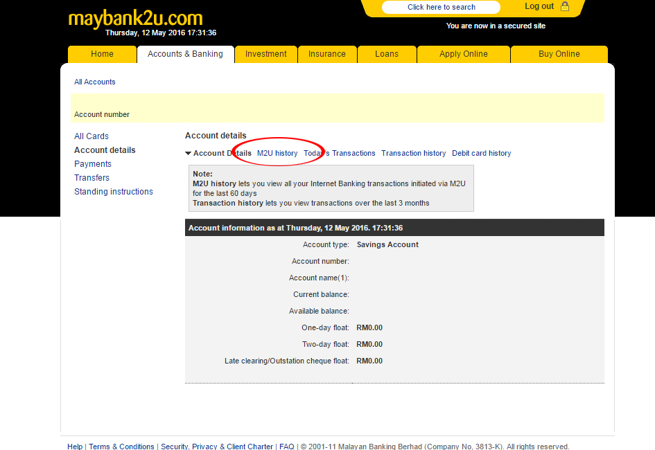 How to print transaction history Maybank2u