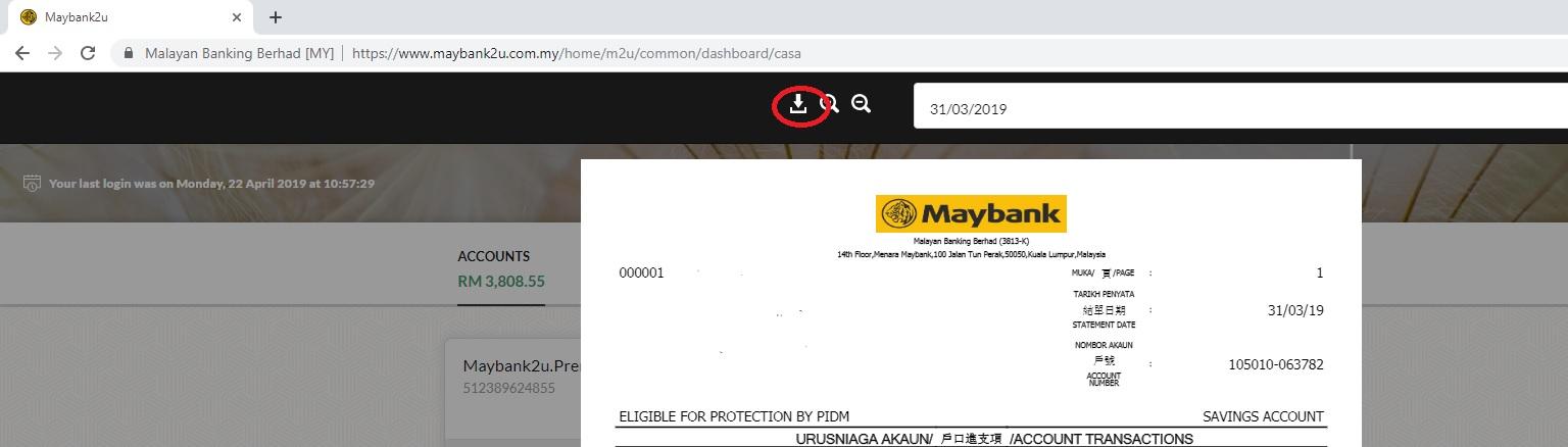 Print Maybank2u Bank Statement